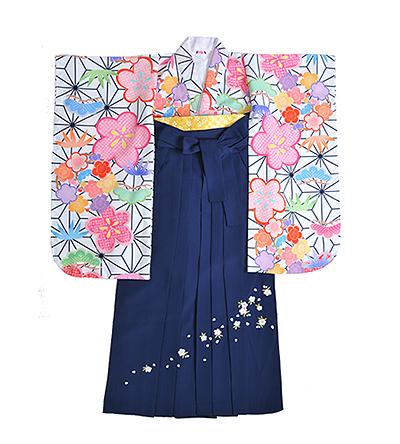卒業袴 / 白 / 麻の葉 / 紺 / 刺繍