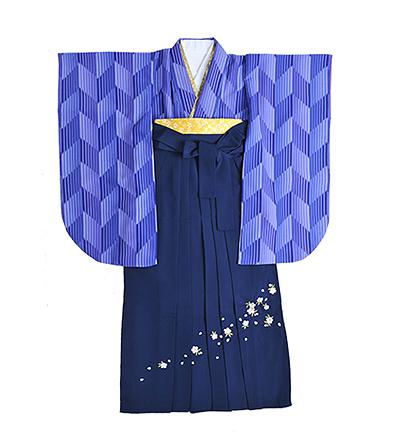 卒業袴 / 青 / 矢絣(やがすり) / 紺 / 刺繍