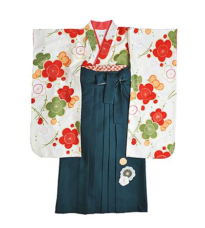 卒業袴 / クリーム / 梅 / 緑 / 刺繍
