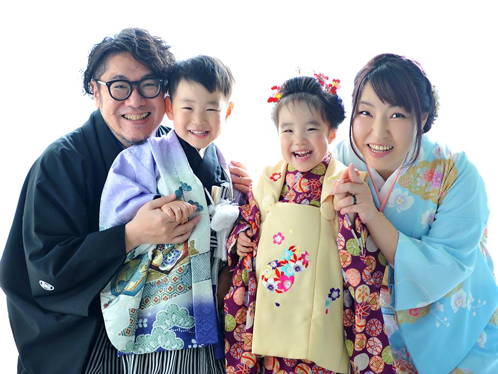 七五三 3歳 男の子 女の子 双子 着物 家族和装
