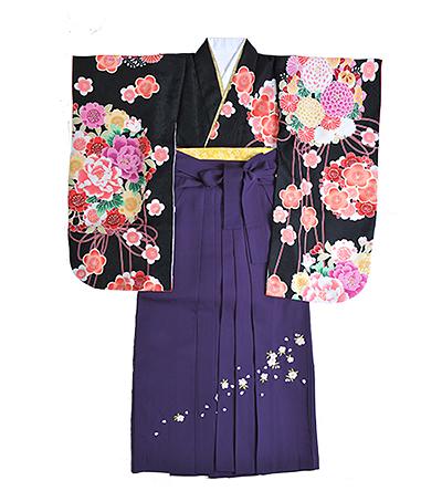 卒業袴 / 黒 / 紫 / 刺繍