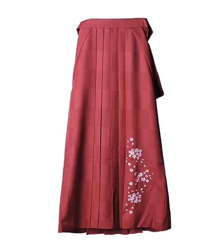 エンジ / 刺繍 / 市松 / 103cm