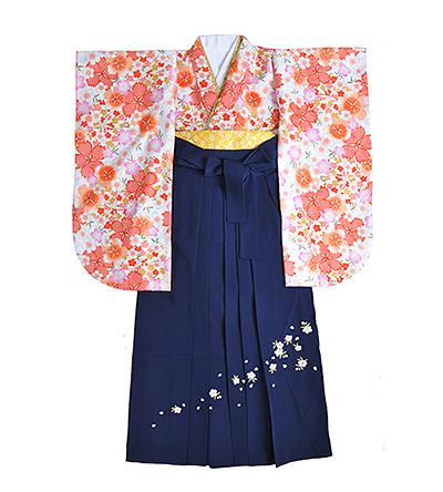 卒業袴 / 白 / オレンジ花柄 / 紺 / 刺繍