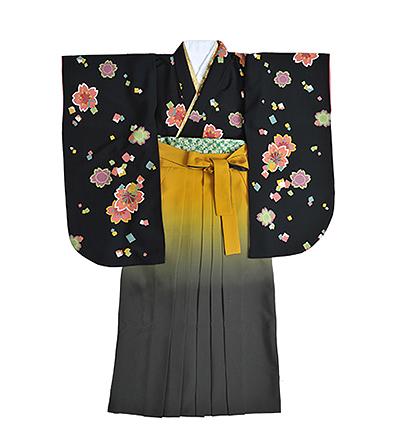 卒業袴 / 黒 / 黄×グレー / グラデーション