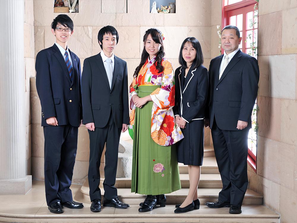 女性 袴 家族写真