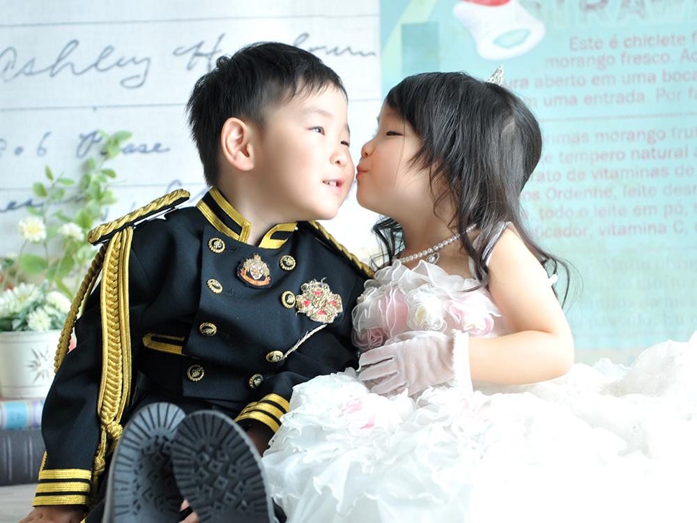 七五三 3歳 男の子 女の子 双子 ドレス 洋装 きょうだい和装