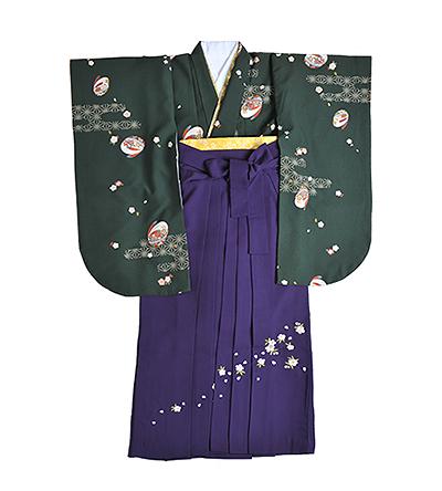 卒業袴 / 深緑 / 紫 / 刺繍
