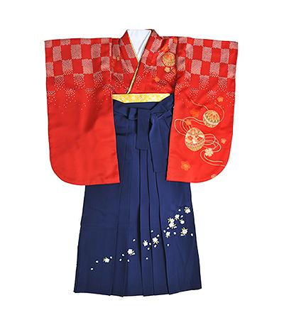 卒業袴 / 朱赤 / 紺 / 刺繍