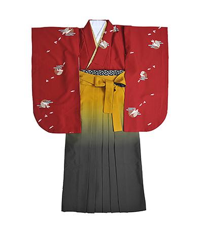 卒業袴 / ボルドー / 黄×グレー / グラデーション