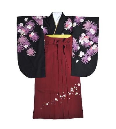 卒業袴 / 黒 / エンジ / 刺繍