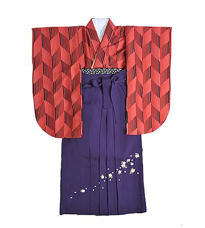 卒業袴 / 矢絣(やがすり) / 紫 / 刺繍