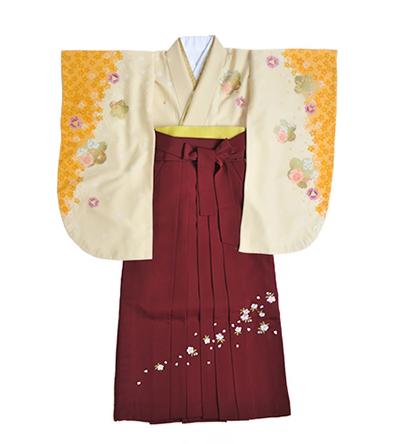 卒業袴 / クリーム×黄色 / エンジ / 刺繍