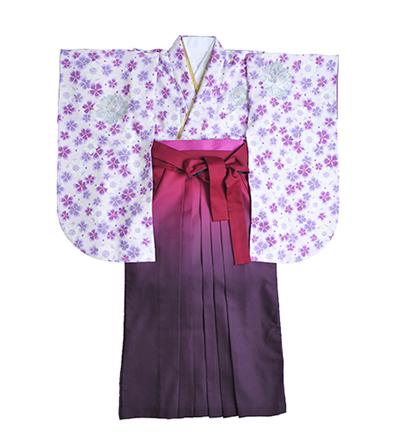 卒業袴 / 白 / 紫小花柄 / 紫 / グラデーション