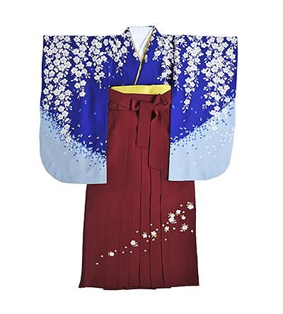 卒業袴 / 濃青色 / エンジ / 刺繍