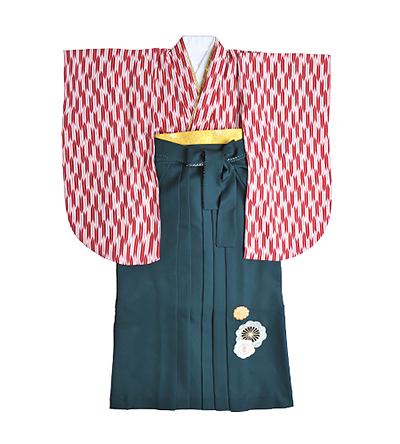 卒業袴 / 赤 / 矢絣(やがすり) / 緑 / 刺繍