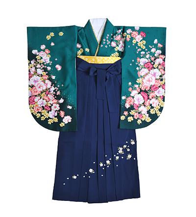 卒業袴 / 緑 / 紺 / 刺繍