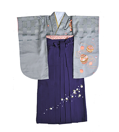卒業袴 / グレー / 紫 / 刺繍