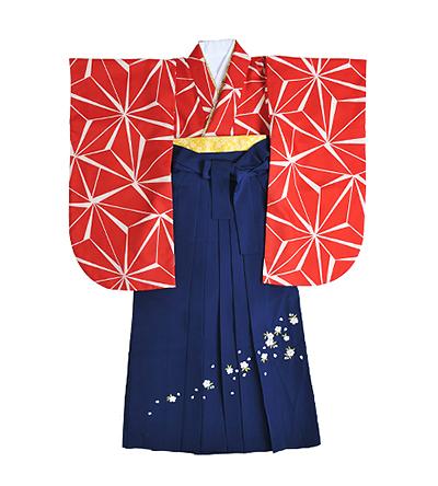 卒業袴 / 赤 / 麻の葉 / 紺 / 刺繍