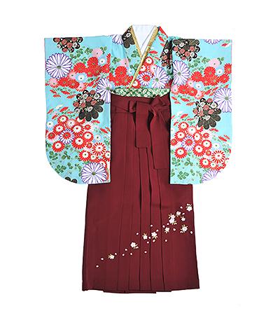 卒業袴 / 水色 / 薄浅葱色 / エンジ / 刺繍
