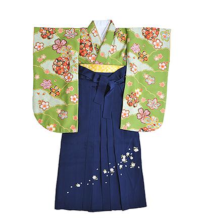 卒業袴 / 黄緑 / 紺 / 刺繍