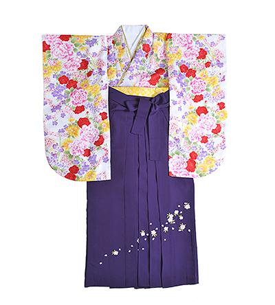 卒業袴 / 白 / 花柄 / 紫 / 刺繍