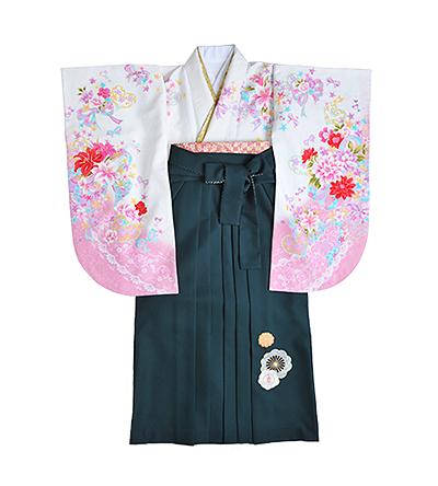 卒業袴 / 白×ピンク / 緑 / 刺繍