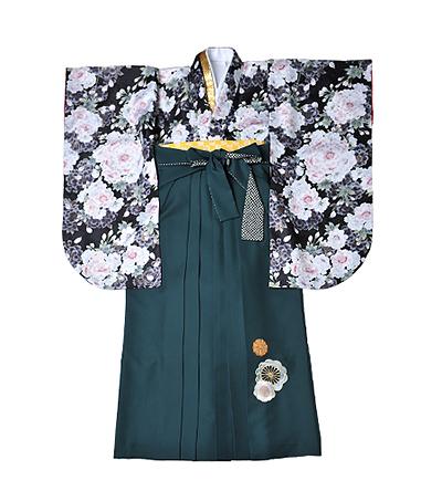 卒業袴 / 黒 / 緑 / 刺繍