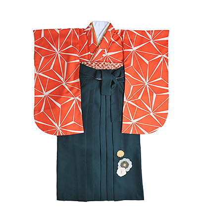 卒業袴 / オレンジ / 麻の葉 / 緑 / 刺繍