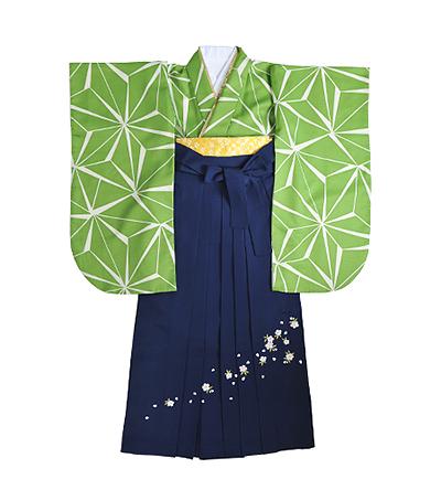 卒業袴 / 黄緑 / 麻の葉 / 紺 / 刺繍