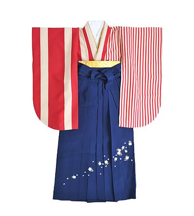 卒業袴 / 赤 / ストライプ / 紺 / 刺繍