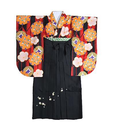 卒業袴 / 黒×赤 / 黒 / 刺繍