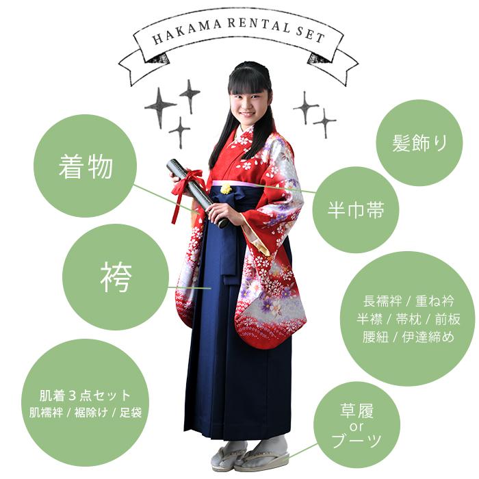 小学生 女の子 卒業袴 着物 レンタルセット