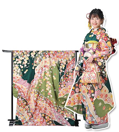 No.139-M / 振袖 / 緑 / クラシカル / 華やか