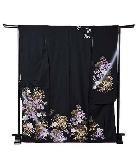 No.55-M / 振袖 / 黒赤 / 古典 / シンプル