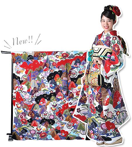 No.199-L / 振袖 / 白 / 紅型 / 個性派 / トラディショナル