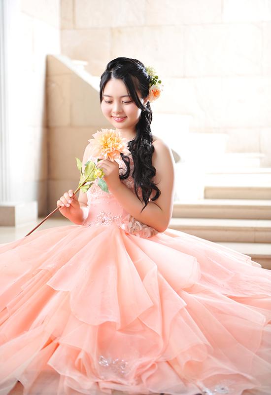 成人女性 / ドレス / ピンク / お花