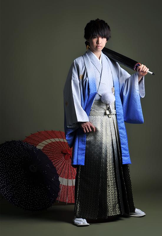 成人男性 / 紋服 / 袴 / 水色 / 青