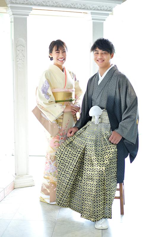 成人男性 / 紋服 / 袴 / 姉弟写真 / 家族和装