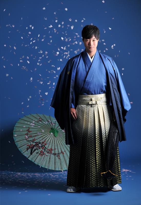 成人男性 / 紋服 / 袴 / 青 / 桜吹雪