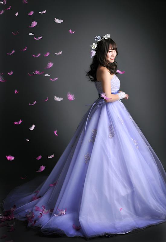 成人女性 / ドレス / 紫 / 羽