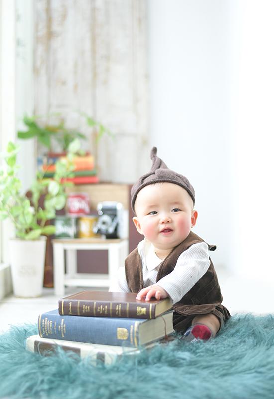 ハーフバースデー / 6ヵ月 / カジュアル衣裳 / どんぐり帽子 / 男の子