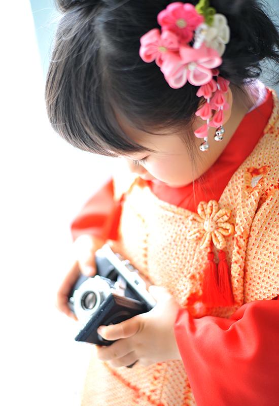 七五三3歳 / 女の子 / 着物 / 赤 / 持込着物