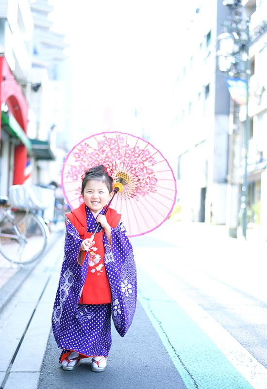 七五三3歳 / 女の子 / 着物 / 紫 / 持込着物 / ロケ