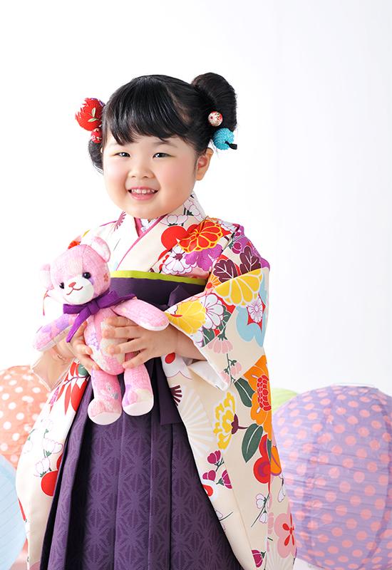 七五三3歳 / 女の子 / 着物 / 袴 / 紫