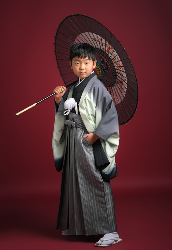 10歳 男の子 袴  グレー 和傘