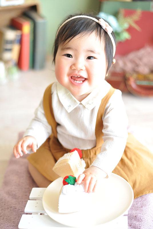 1歳 誕生日 女の子 私服風 カジュアル衣裳 バースデーケーキ