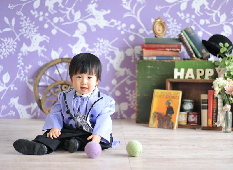 1歳 誕生日 男の子 タキシード 紫 おしゃれ