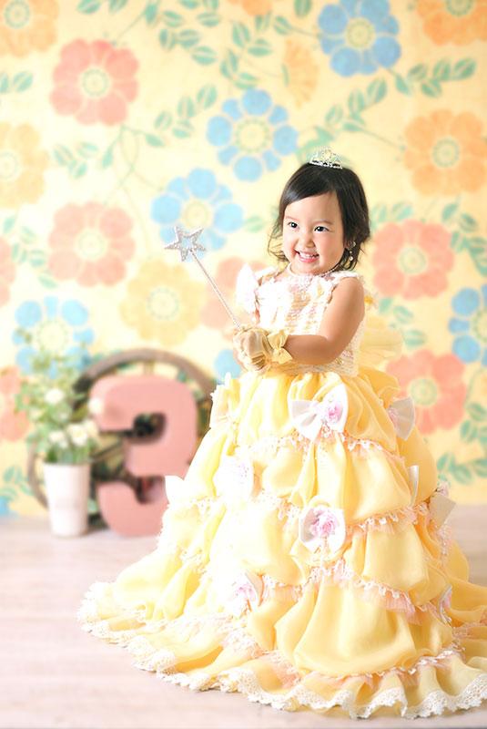 七五三 3歳 女の子 ドレス 黄色