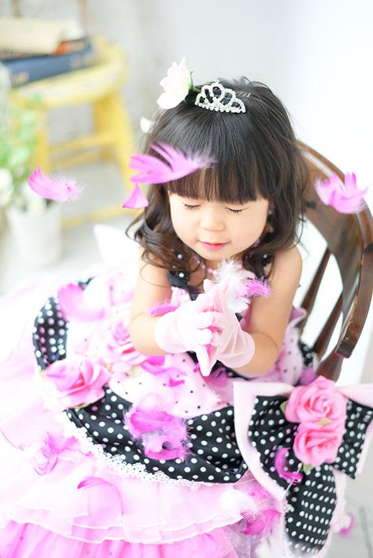七五三 3歳 女の子 ドレス ピンク 羽