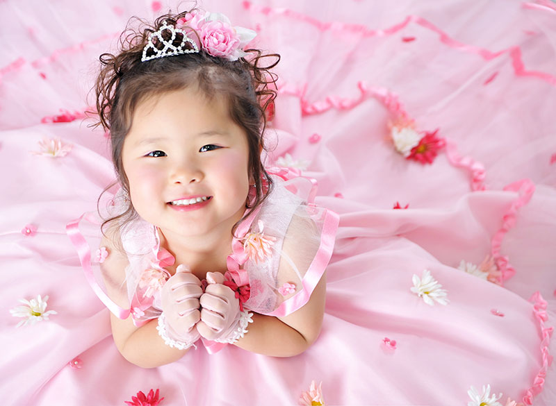 七五三 3歳 女の子 ドレス ピンク 上から